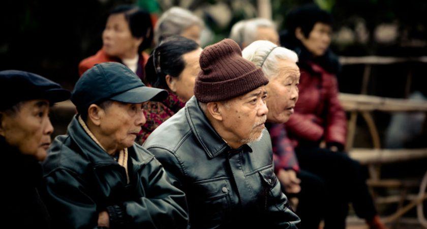 Old asian people sitting (People) people,asia,putian,sajik